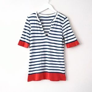 J. Crew orange and blue striped deep v neck tee